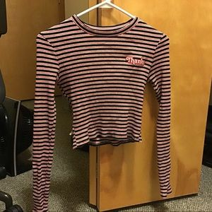 black red and white striped long sleeved shirt